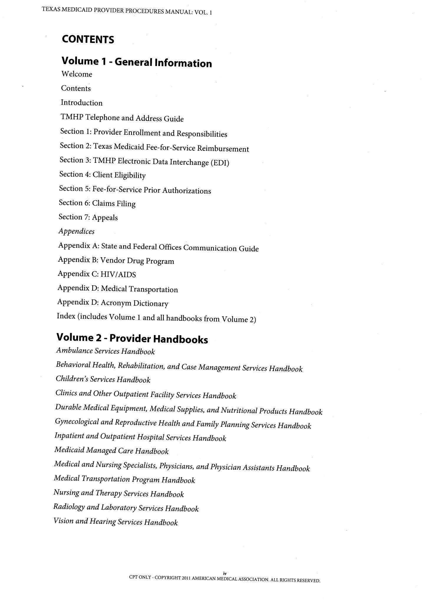 Texas Medicaid Provider Procedures Manual Volume 1 Manual Guide