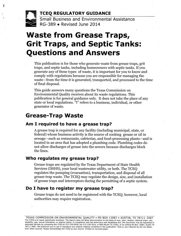 Waste from Grease Traps, Grit Traps, and Septic Tanks