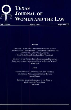Primary view of object titled 'Texas Journal of Women and the Law, Volume 18, Number 2, Spring 2009'.