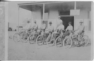 [Postcard of Men on Bicycles]