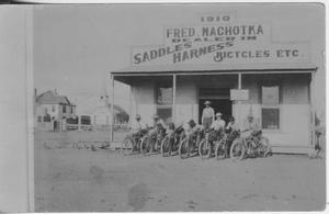 Primary view of object titled '[Postcard of Men on Bicycles]'.