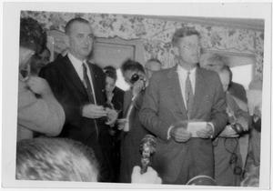 Primary view of object titled '[Lyndon Johnson and John Kennedy Surrounded by Photographers]'.