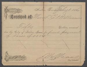 Primary view of object titled '[Property tax receipt for Lizzie Williams]'.