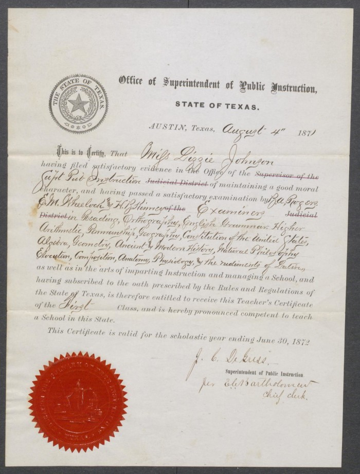 Teaching Certificate For Lizzie Johnson Dated August 4 1871 The