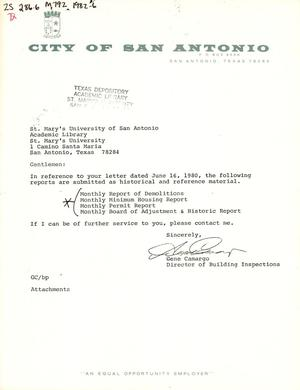 Primary view of object titled 'City of San Antonio Monthly Report of Demolitions, Monthly Minimum Housing Report, Monthly Permit Report, and Monthly Board of Adjustment & Historic Report: June 1982'.