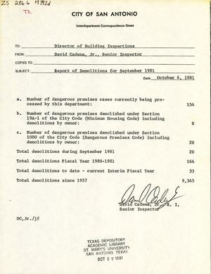 Primary view of object titled 'City of San Antonio Monthly Report of Demolitions: September 1981'.