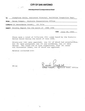 Primary view of object titled 'City of San Antonio Monthly Historic Review Board Report: June 1990'.