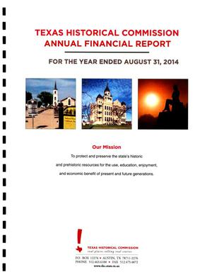 Primary view of object titled 'Texas Historical Commission Annual Financial Report: 2014'.