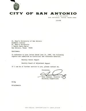Primary view of object titled 'City of San Antonio Monthly Permit Report and Monthly Board of Adjustment Report: February 1999'.