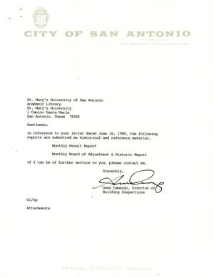 Primary view of object titled 'City of San Antonio Monthly Permit Report and Monthly Board of Adjustment & Historic Report: September 1994'.