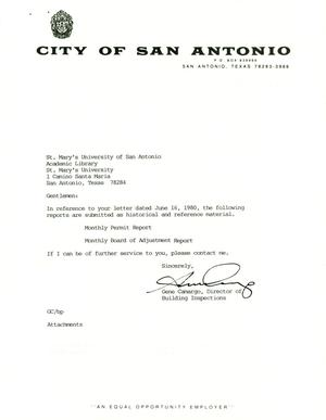 Primary view of object titled 'City of San Antonio Monthly Permit Report and Monthly Board of Adjustment Report: October 1999'.