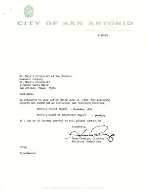 Primary view of object titled 'City of San Antonio Monthly Permit Report and Monthly Board of Adjustment Report: December 1995'.