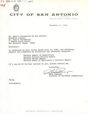 Primary view of object titled 'City of San Antonio Monthly Report of Demolitions, Monthly Minimum Housing Report, Monthly Permit Report, and Monthly Board of Adjustment & Historic Report: November 1984'.