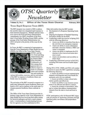 Primary view of object titled 'OTSC Quarterly Newsletter, Volume 21, Number 1, February 2014'.