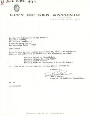 Primary view of object titled 'City of San Antonio Monthly Report of Demolitions, Monthly Minimum Housing Report, Monthly Permit Report, and Monthly Board of Adjustment & Historic Report: November 1983'.