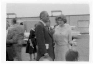 Primary view of object titled '[Lyndon Johnson Outdoors with a Group]'.