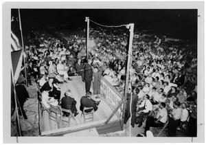 Primary view of object titled '[Crowd Seated as Lyndon Johnson Speaks]'.