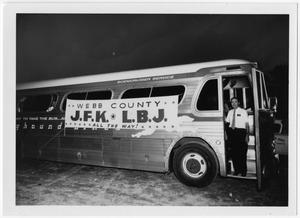 Primary view of object titled '[Bus with Advertisement for John F. Kennedy and Lyndon Johnson]'.