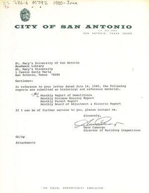 Primary view of object titled 'City of San Antonio Monthly Report of Demolitions, Monthly Minimum Housing Report, Monthly Permit Report, and Monthly Board of Adjustment & Historic Report: July 1986'.