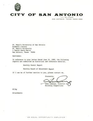 Primary view of object titled 'City of San Antonio Monthly Permit Report and Monthly Board of Adjustment Report: May 1999'.