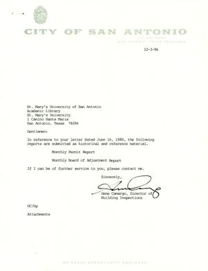 Primary view of object titled 'City of San Antonio Monthly Permit Report and Monthly Board of Adjustment Report: November 1996'.