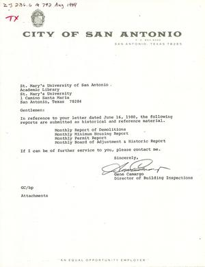 Primary view of object titled 'City of San Antonio Monthly Report of Demolitions, Monthly Minimum Housing Report, Monthly Permit Report, and Monthly Board of Adjustment & Historic Report: August 1984'.