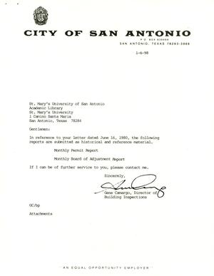 Primary view of object titled 'City of San Antonio Monthly Permit Report and Monthly Board of Adjustment Report: December 1997'.