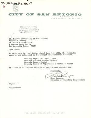 Primary view of object titled 'City of San Antonio Monthly Report of Demolitions, Monthly Minimum Housing Report, Monthly Permit Report, and Monthly Board of Adjustment & Historic Report: July 1982'.