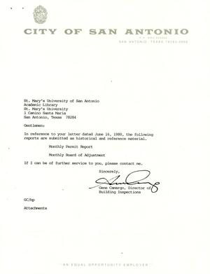 Primary view of object titled 'City of San Antonio Monthly Permit Report and Monthly Board of Adjustment Report: December 1992'.