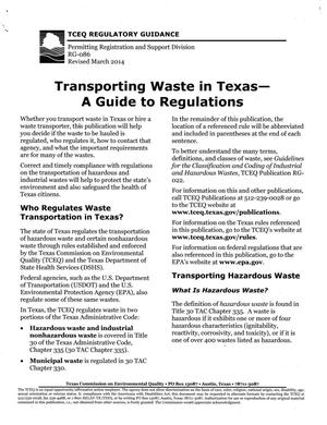 Primary view of object titled 'Transporting Waste in Texas-- A Guide to Regulations'.