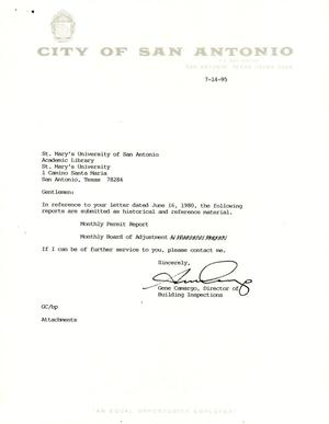 Primary view of object titled 'City of San Antonio Monthly Permit Report and Monthly Board of Adjustment: June 1995'.