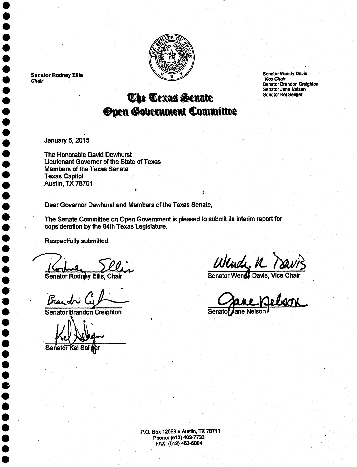 Interim Report to the 84th Texas Legislature: Senate Committee on Open Government                                                                                                      Title Page