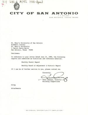 Primary view of object titled 'City of San Antonio Monthly Permit Report and Monthly Board of Adjustment & Historic Report: April 1988'.
