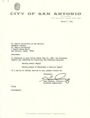 Primary view of object titled 'City of San Antonio Monthly Permit Report and Monthly Board of Adjustment & Historic Report: February 1991'.