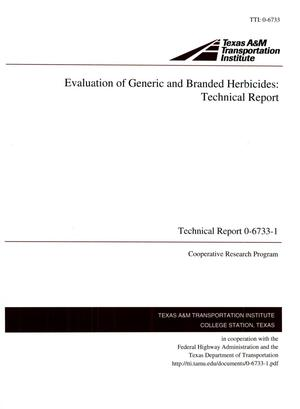 Primary view of object titled 'Evaluation of Generic and Branded Herbicides: Technical Report'.