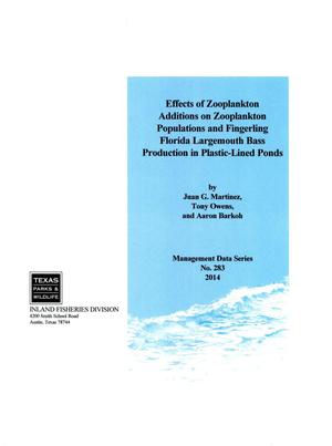 Primary view of object titled 'Effects of Zooplankton Additions on Zooplankton Populations and Fingerling Florida Largemouth Bass Production in Plastic-Lined Ponds'.