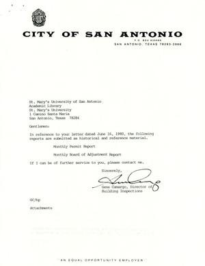 Primary view of object titled 'City of San Antonio Monthly Permit Report and Monthly Board of Adjustment Report: August 2000'.