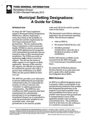 Primary view of object titled 'Municipal Setting Designations: A Guide for Cities'.
