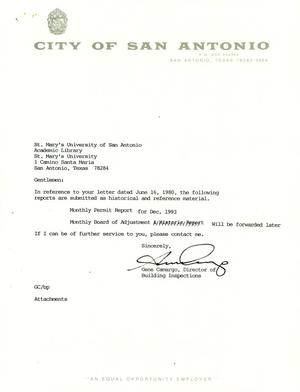 Primary view of object titled 'City of San Antonio Monthly Permit Report: December 1993'.