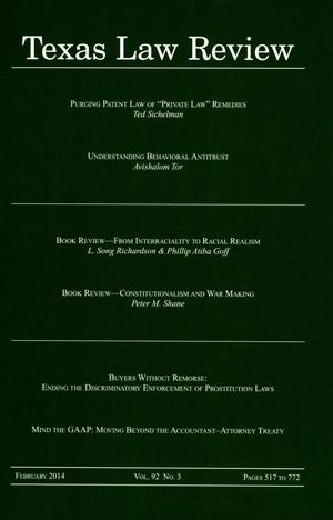 Primary view of object titled 'Texas Law Review, Volume 92, Number 3, February 2014'.