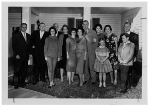 Primary view of object titled '[Lyndon Johnson and Others Posing in Front of the Texas White House]'.