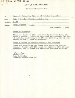 Primary view of object titled 'City of San Antonio Monthly Report of Demolitions, Monthly Minimum Housing Report, Monthly Permit Report, and Monthly Board of Adjustment & Historic Report: October 1980'.