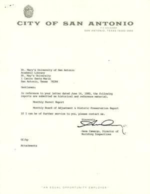 Primary view of object titled 'City of San Antonio Monthly Permit Report and Monthly Board of Adjustment & Historic Preservation Report: May 1990'.