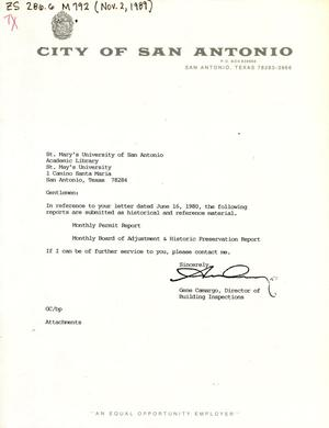 Primary view of object titled 'City of San Antonio Monthly Permit Report and Monthly Board of Adjustment & Historic Preservation Report: October 1989'.