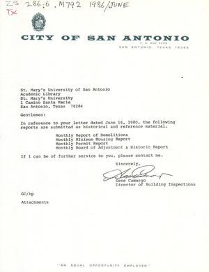Primary view of object titled 'City of San Antonio Monthly Report of Demolitions, Monthly Minimum Housing Report, Monthly Permit Report, and Monthly Board of Adjustment & Historic Report: June 1986'.