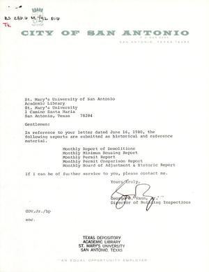 Primary view of object titled 'City of San Antonio Monthly Report of Demolitions, Monthly Minimum Housing Report, Monthly Permit Report, Monthly Permit Comparison Report, and Monthly Board of Adjustment & Historic Report: April 1981'.