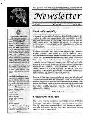 Primary view of object titled 'Credit Union Department Newsletter, Number 07-14, July 16, 2014'.