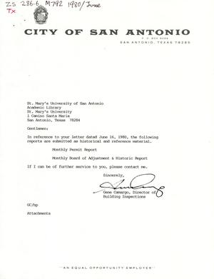 Primary view of object titled 'City of San Antonio Monthly Permit Report and Monthly Board of Adjustment & Historic Report: January 1988'.