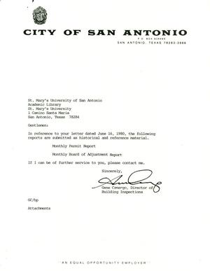 Primary view of object titled 'City of San Antonio Monthly Permit Report and Monthly Board of Adjustment Report: June 1999'.