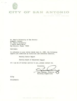 Primary view of object titled 'City of San Antonio Monthly Permit Report and Monthly Board of Adjustment Report: December 1996'.
